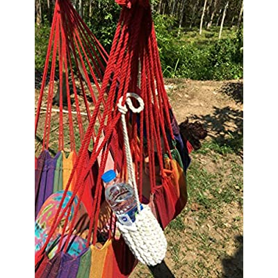 Hammock Sky Portable Drink Holder Intricate Handcrafted Braided Design Attach to Hammocks, Hammock Chairs, Backpacks, Lounge Chairs, Belts Wear Around Your Neck, Weatherproof Polyester : Garden & Outdoor