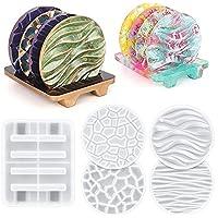 Crystal Hars Coaster Mallen Siliconen Set Wave Diamond Patroon Coaster Hars Stencils Craft Supplies Hars Mallen Ronde…