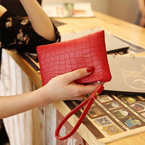 PU Handbag Pattern Crocodile Mini Vintage Women Red Purse Womens Clutch Zipper Bags Fashion Phone Coin SHOBDW Leather Girls W81wwURHzq