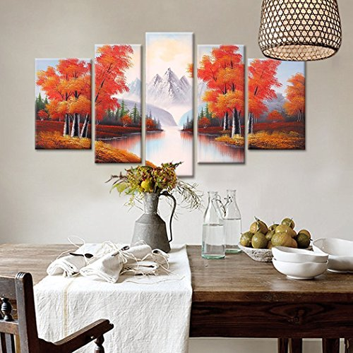 FLY SPRAY 5-Piece Framed 100% Hand Painted Oil Paintings Abstract Canvas Wall Art Decor Home Decoration Natural Landscape Living Room Bedroom Trees Ice Mountain River Autumn Scenery