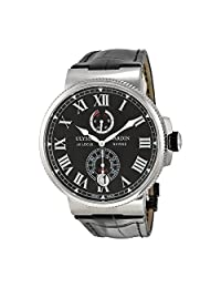 Ulysse Nardin Marine Chronometer Automatic Black Dial Black Leather Mens Watch 1183-122-42-V2