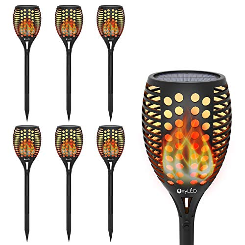 Solar Torch Lights, 6-Pack of OxyLED Garden Pathway Light with Realistic Dancing Flames, Waterproof Landscape Lighting With Auto On/Off Dusk to Dawn for Halloween Christmas Lights Decorations