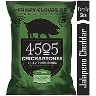 4505 Jalapeno Cheddar Pork Rinds, Certified Keto, Humanely Raised, Family Size Bag, 7oz