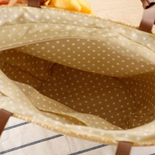 Hobo Handmade Bag Beach Shoulder Retro Bag EROUGE Bag Summer Beige Bag Large Woven Straw FvZnwx
