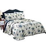 Alicemall Ocean Theme Bed in a Bag Blue Shell and Starfish Print White Comforter Set 100% Cotton Bedspread/ Quilt Set, 3 Pieces, Queen/King Size (Blue & White)
