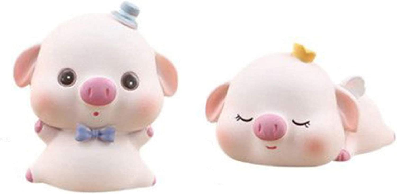 Pig Figurines, 2 Pcs Pig Statue Figurine Ornament, Piggy Toy Figures Cake Topper DIY Crafts Fairy Garden Ornament Car Dashboard Decoration Home Decor