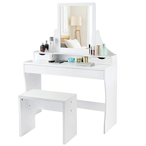 Peachy Charmaid Vanity Set With Mirror Stool Makeup Dressing Table With 1 Large Sliding Drawer 2 Small Drawers Makeup Vanity Set For Girls Women Dailytribune Chair Design For Home Dailytribuneorg