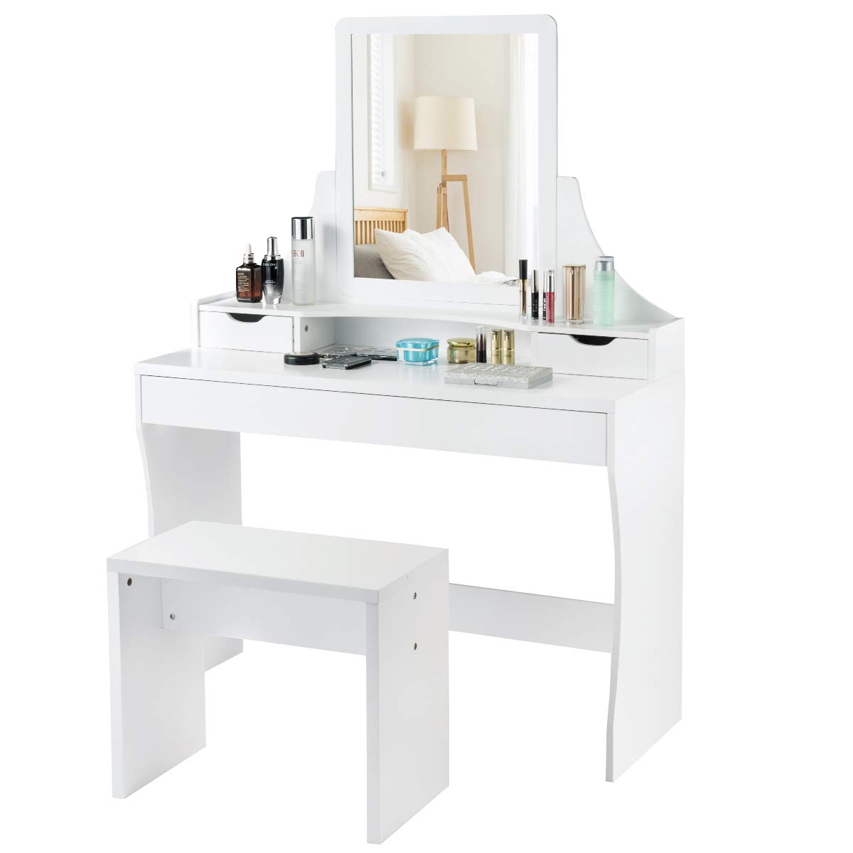 CHARMAID Vanity Set with Mirror & Stool, Makeup Dressing Table with 1 Large Sliding Drawer & 2 Small Drawers, Makeup Vanity Set for Girls Women Bedroom, Mirrored Vanity Table Set (White)