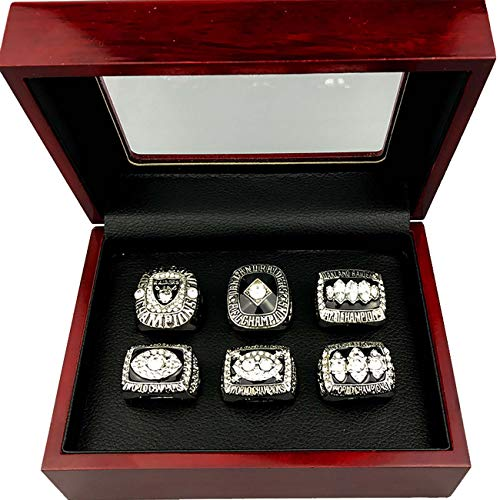 - Oakland Raiders Super Bowl Championship Replica Ring by Display Box Set (A Set of 6)