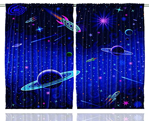 Ambesonne Kids Curtains, Outer Space Orbit Rocket Galaxy Stars Milkyway Nebula Cosmos Astronomy Art Prints Nursery 108 X 84 Inches for Kids Room Bedroom Living Room Curtains 2 Panel ()