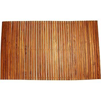This Item Bare Decor 3 By 5u0027 Oskar String Spa Shower Mat/Rug, X Large,  Solid Teak Wood Oiled Finish
