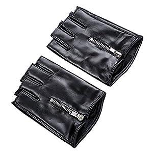 Ambesi Women's Zipped Fingerless Nappa Leahter Driving Gloves