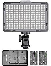 Neewer Lichtpaneel 176 LED dimbaar met 2 stuks lithium batterijen 2600 mAh, dubbele USB-oplader voor spiegelreflexcamera's van Canon Nikon etc. voor video-opnamen in fotostudio's