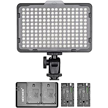 Neewer 280 LED Light Dimmable Bi-color Camera LED Video Lighting Kit: 280 LED Panel CRI 95+ 3200K-5600K 2 Pieces 2600mAh NP-F550 Replacement Battery and Charger for Canon Nikon DSLR Camera Camcorder