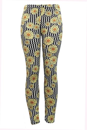 Corona Collection Sunflower Print Leggings Black and Yellow One Size