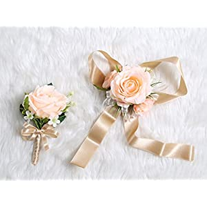 Wedding Prom Wrist Corsage Single Silk rose and Boutonniere Set Pin Ribbon Included (Classic Oldrose theme) 11