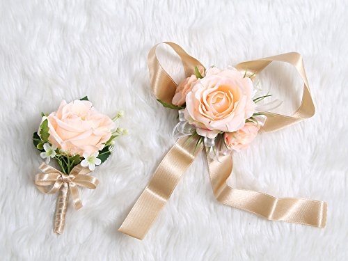Peach Rose Boutonniere - Secret Garden Wedding Prom Wrist Corsage Single Silk Rose and Boutonniere Set Pin Ribbon Included (Classic Oldrose Theme)