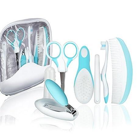 KYG 7tlg Babypflege Set mit alltäglichen Babypflegeartikels im Etui für Baby Neugeborene Pflege Blau Hallo&World