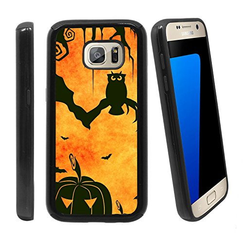 Shockproof Samsung Galaxy S7 Anti-Scratch Dual Layer Black Rugged Protective Case with Color Printing - Halloween Bats and Pumpkin ()