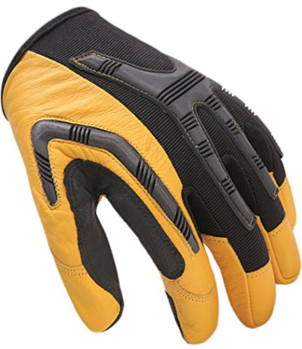 Leather Work Gloves Heavy-Duty, Water-Resistant Palm, Comfortable Industrial & Mechanic (Leather Palm Mechanics Glove)