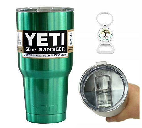 Yeti Coolers 30 Ounce (30oz) (30 oz) Custom Rambler Tumbler Cup Mug with Exclusive Spill Resistant Lid (Emerald Green)