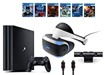 PlayStation VR Bundle 9 Items:VR Headset,Playstation Camera,PS4 Pro 1TB,6 VR Game Disc Until Dawn: Rush of Blood,EVE: Valkyrie, Battlezone,Batman: Arkham VR,DriveClub,Battlezone Battlezone