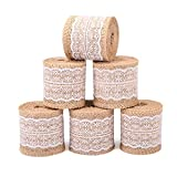 Z&S Groups Natural Burlap Ribbon White Lace Trim Fabric Roll ZoraSelena 6 PCS Burlap Roll Rustic Wedding Decorations 2.3 inches Wide Ribbon Crafts Burlap Lace 78.7 inches Each