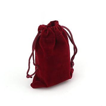 ROSENICE 10pcs 9 * 12 cm Terciopelo del lazo de regalo de la bolsa favor de la boda bolsas de dulces Bolsas joyería (rojo)