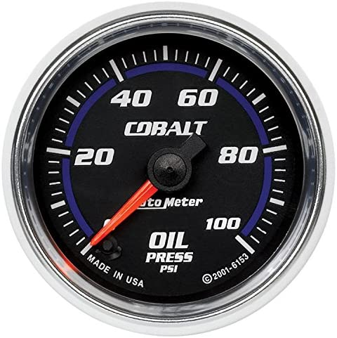 Auto Meter 6153 Cobalt 2-1/16″ 0-100 PSI Full Sweep Electric Oil Pressure Gauge