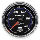 Auto Meter 6153 Cobalt 2-1/16'' 0-100 PSI Full Sweep Electric Oil Pressure Gauge