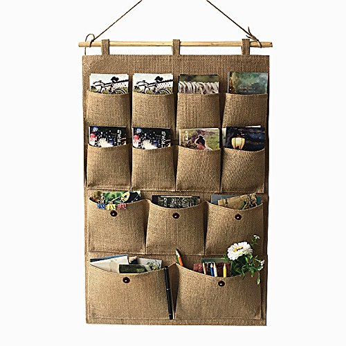 Hanging Storage Pockets, Over Wall Door Foldable Closet, Collapsible Bags, Nursery Organizers, Linen Fabric Containers, with Cotton Rope and Wooden Pole for Toys, Magazines, Accessory, Home
