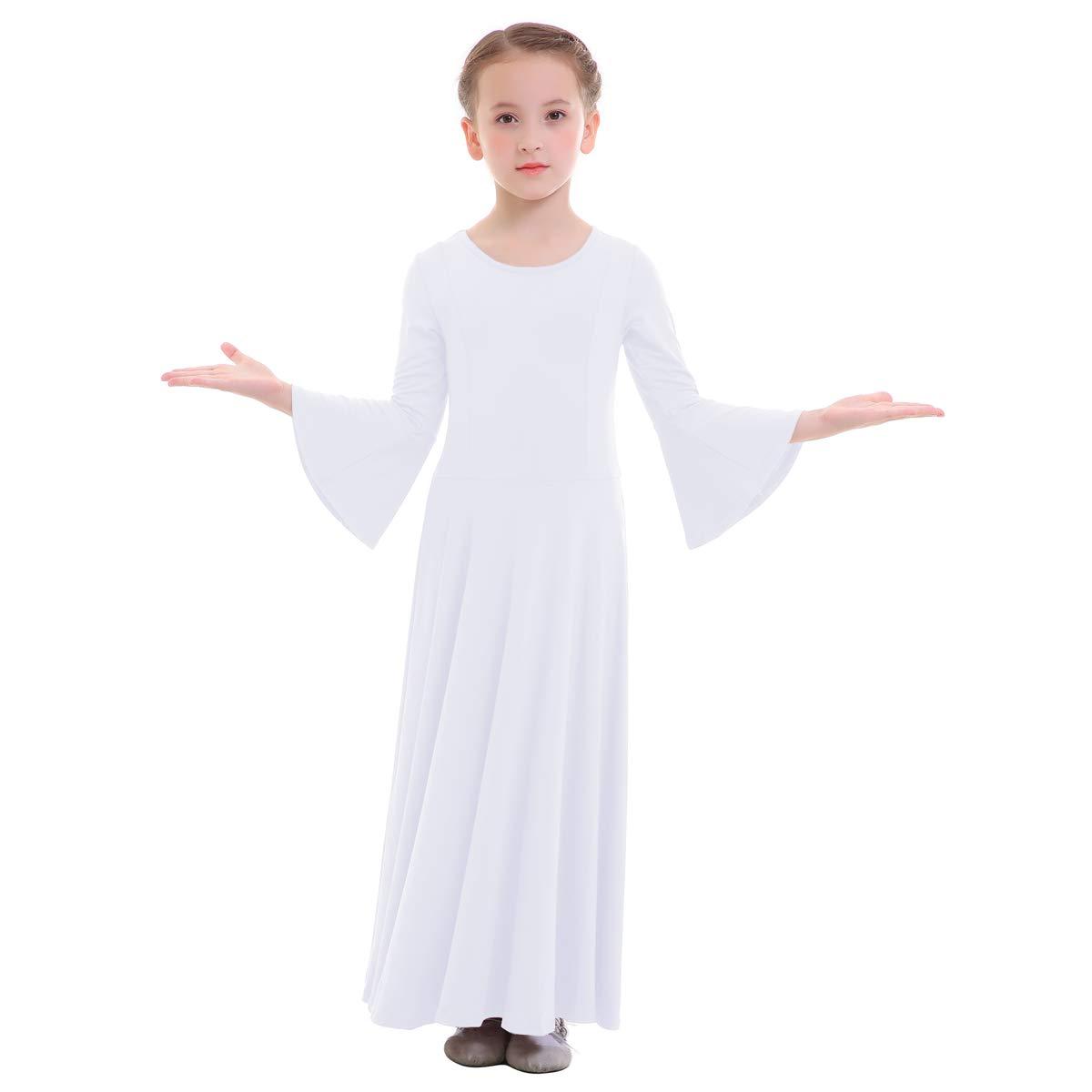 IWEMEK DRESS ガールズ B07FKNFKV5 9-10 White - Bell Sleeve White - Bell Sleeve 43718