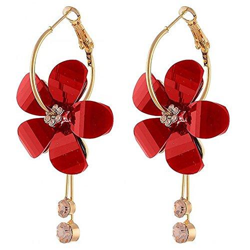 AkoMatial Fashion Earrings for Women, Korean Women Camellia Flower Long Tassel Rhinestone Party Leaverback Elegant Earrings - ()