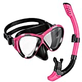 OMorc Adults Diving Snorkel Set - Tempered Glass Diving Mask & Dry Top Snorkel, Anti-Fog Panoramic Scuba Mask, Snorkel with Food-Grade Silicone Mouthpiece Perfect for Diving Snorkeling