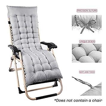 Cojín de repuesto para tumbona de jardín, patio, silla gruesa, almohadillas de relajación, gris