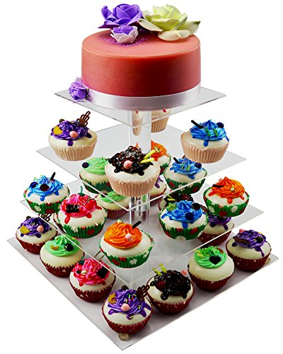 DYCacrlic 4 Tiers Stacked Acrylic Cupcake Stand / Square Wedding Cake Stand, (Serving Display)