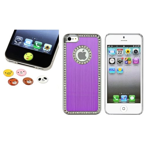 Für IPHONE 5 Gen Bling Luxus Lila Diamant Case+6pc Tier Haus Button Aufkleber