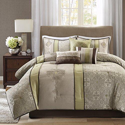 Madison Park Donovan King Size Bed Comforter Set Bed In A Bag - Taupe, Sage Green , Jacquard Pattern – 7 Pieces Bedding Sets – Ultra Soft Microfiber Bedroom Comforters -
