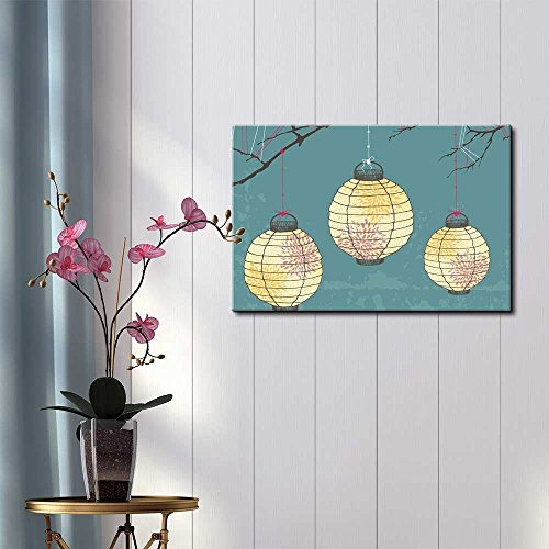 Vector Japanese Lanterns with Designs Hanging on Branches