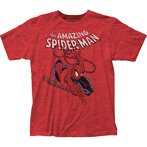 Marvel The Amazing Spider-Man Spidey Swinging Slim-fit T-Shirt - Red (X-Large)