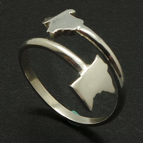 Handmade 925 Sterling Silver Long Distance Relationship Texas and Minnesota Home States Ring