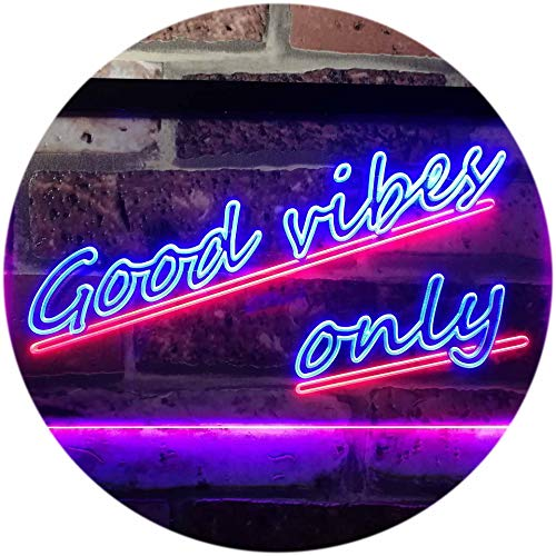 (ADVPRO Good Vibes Only Wall Plaque Night Light Dual Color LED Neon Sign Blue & Red 16