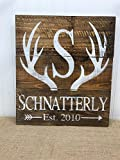 Personalized Antler Initial Family Name Pallet Sign Reclaimed Wood Home Decor 14×15 For Sale