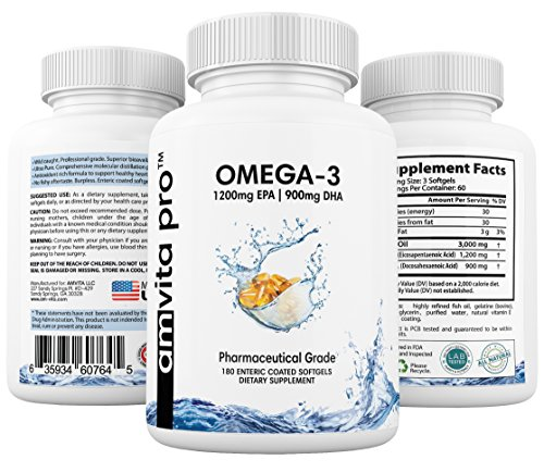 Omega 3 Fish Oil - Enteric Coated, 1200mg EPA + 900mg DHA, Pharmaceutical Grade, Burpless, 180 Counts