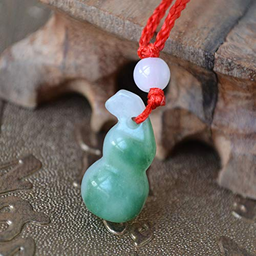 Jade Twisted Necklace - natural jade necklace pendant chain small gourd agate red string stall fashion decoration factory direct jewelry for men women (twisted rope hoist with a single bead of single v