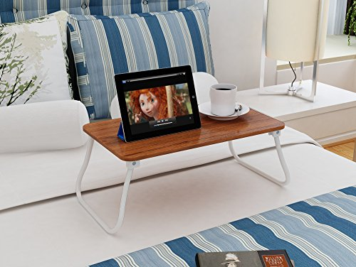 Homebi Lap Desk Tray Table Laptop Stand Portable Bed Desk Breakfast Tray for Bed Couch and Sofa with MDF Top Board and Foldable Metal Legs (11.20''H, Walnut) by HOME BI (Image #6)