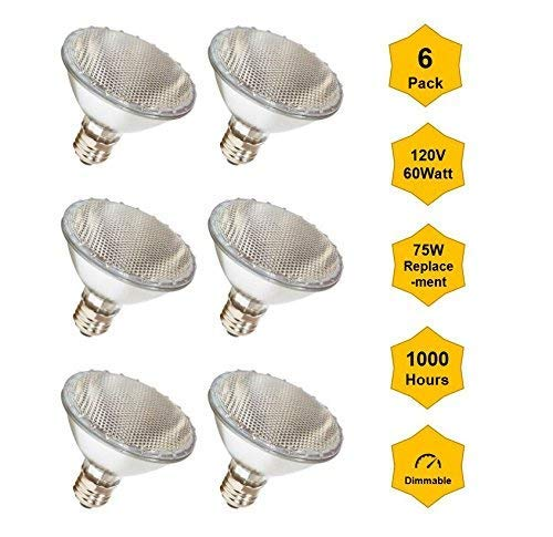 6Pack Par30-120V-60W-Short Neck (High Output, Flood, 75W Equivalent) Halogen Bulb