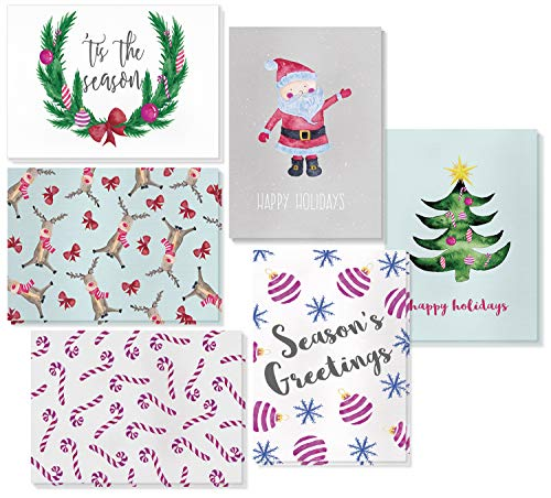 48 Pack Holiday Greeting Cards  6 Christmas Designs with Envelopes Included 4 x 6 Inches
