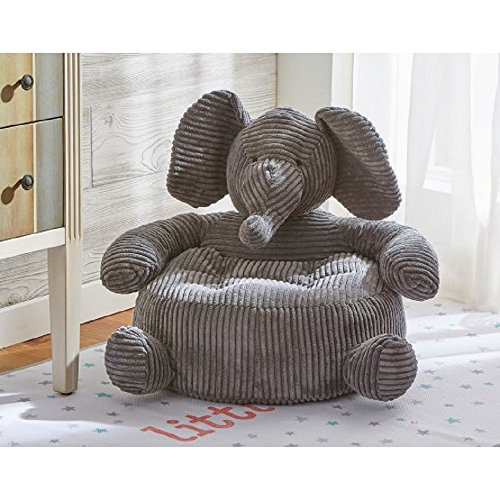 Elephant Plush Children's Chair for Living Room, Nursery, Kids Bedroom Furniture 22W x 22L x 16H in Cottony Soft w/ Polyester Fill, Comfortable, Oversized Corduroy, Rich Gray Color + Free Ebook by Tag