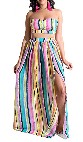 Womens Sexy 2 Piece Outfit Crop Tube Top Stripe Split Long Maxi Dress Swing Pink Green L - 2 Piece Strapless Wedding Dress